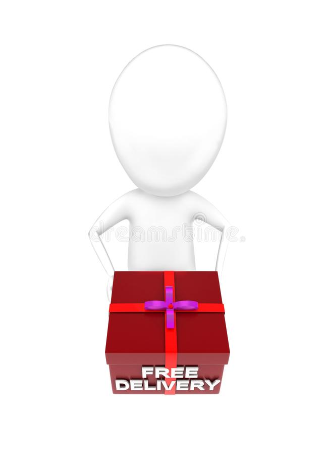 3d man holding free delivery message gift box concept stock illustration