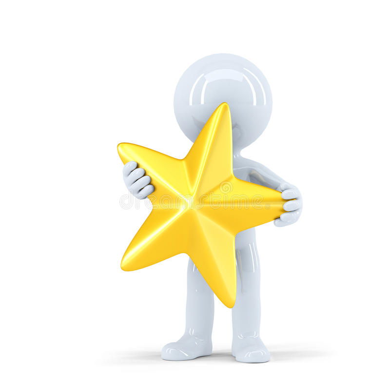 3d man holding golden star. . Contains clipping path stock illustration