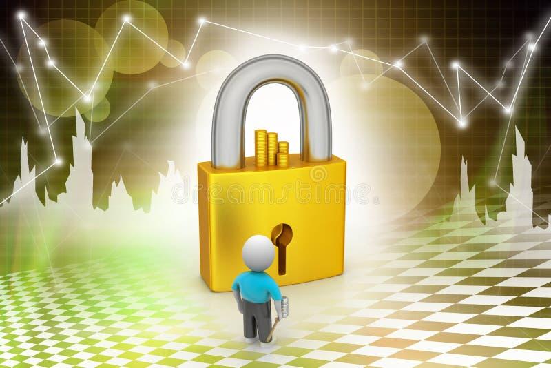 3D man holding a key and padlock stock illustration