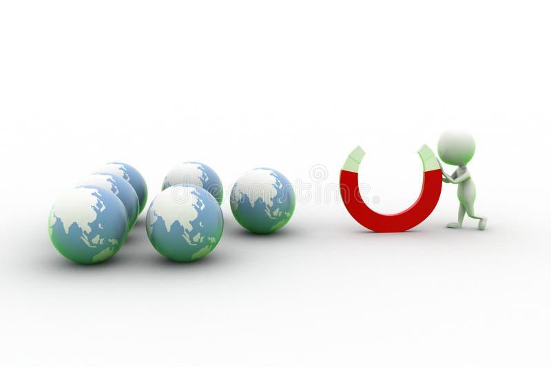 Download 3d Man Holding Magnet Near Globe Stock Illustration - Illustration of icon, direction: 43529261