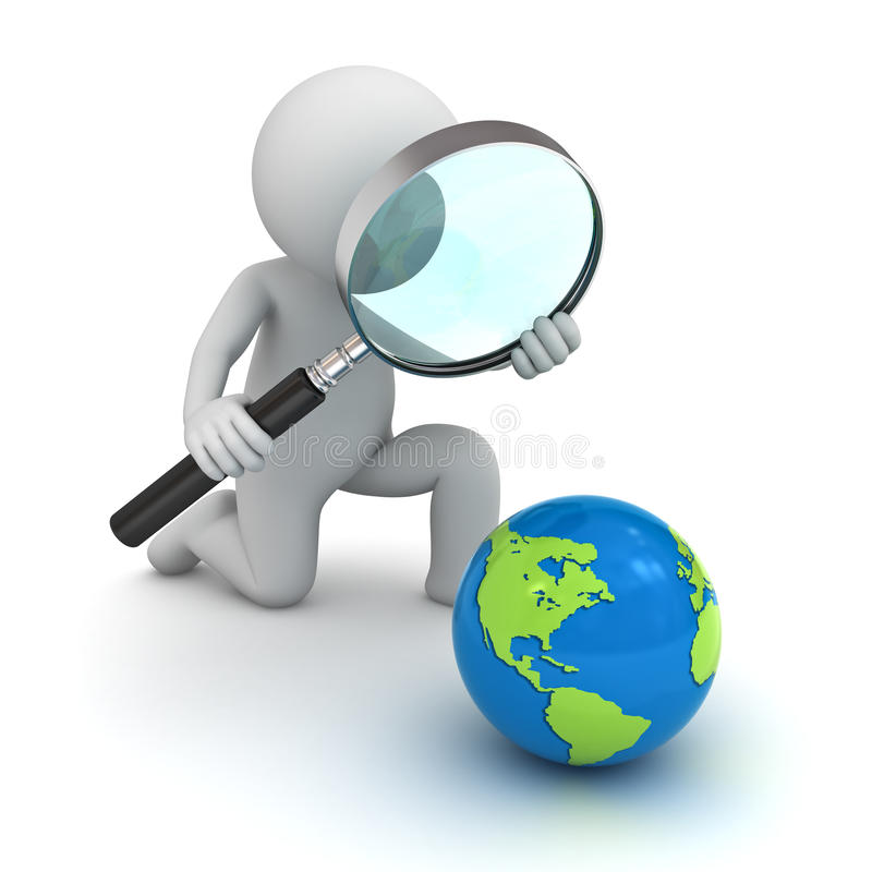 3d man holding magnifying glass and looking at blue globe map vector illustration