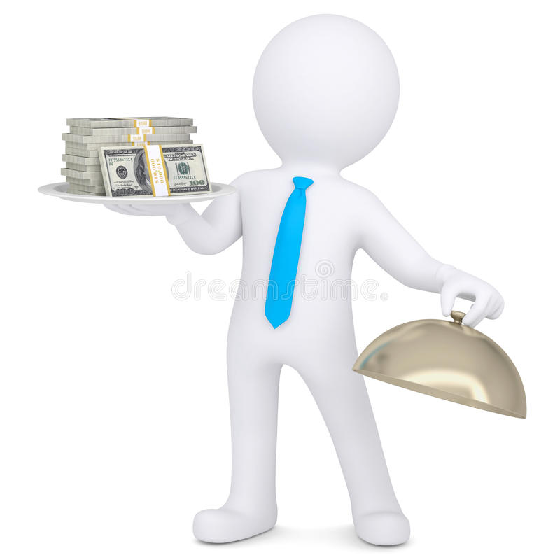Download 3d Man Holding A Pile Of Money On A Platter Stock Illustration - Image: 32547667