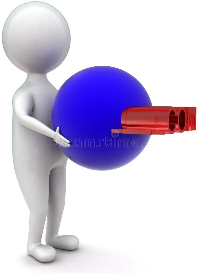 3d man holding a sphere - .com text projected concept. In white isolated background - 3d rendering ,  side  angle view stock illustration
