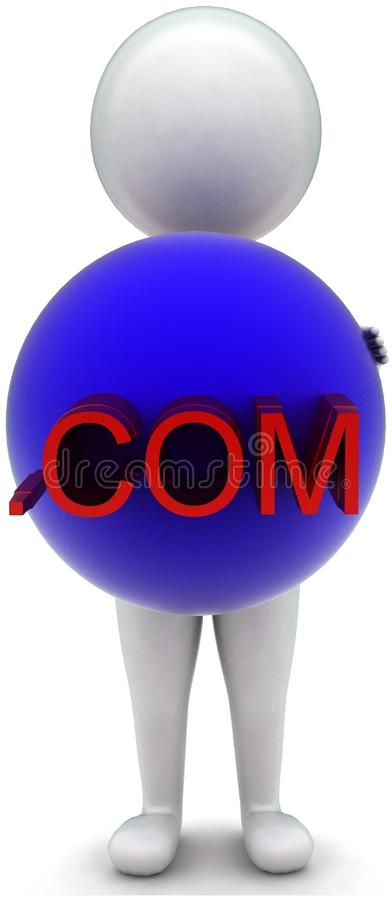 3d man holding a sphere - .com text projected concept. In white isolated background - 3d rendering ,  front  angle view stock illustration
