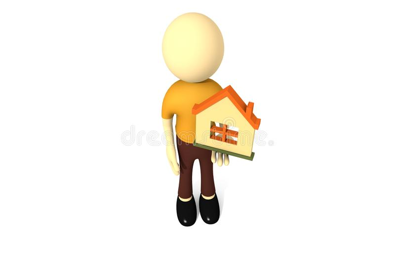 3d man with house vector illustration