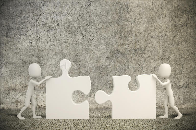 3d man joining two puzzle pieces. 3d men joining two puzzle pieces royalty free illustration