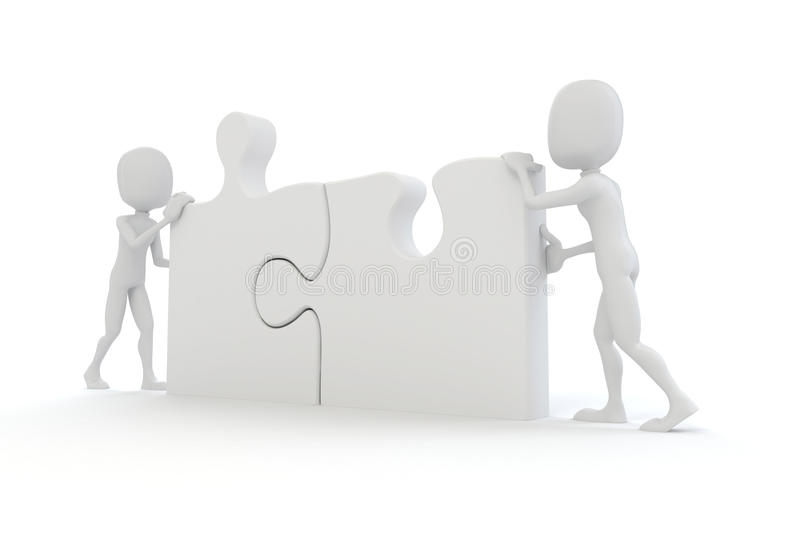 3d man joining two puzzle pieces. On white stock illustration