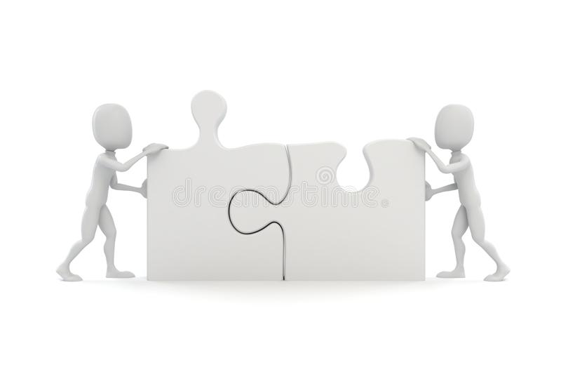 3d man joining two puzzle pieces. On white royalty free illustration