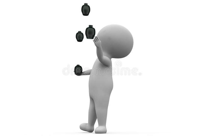 3d man juggling concept royalty free stock photo
