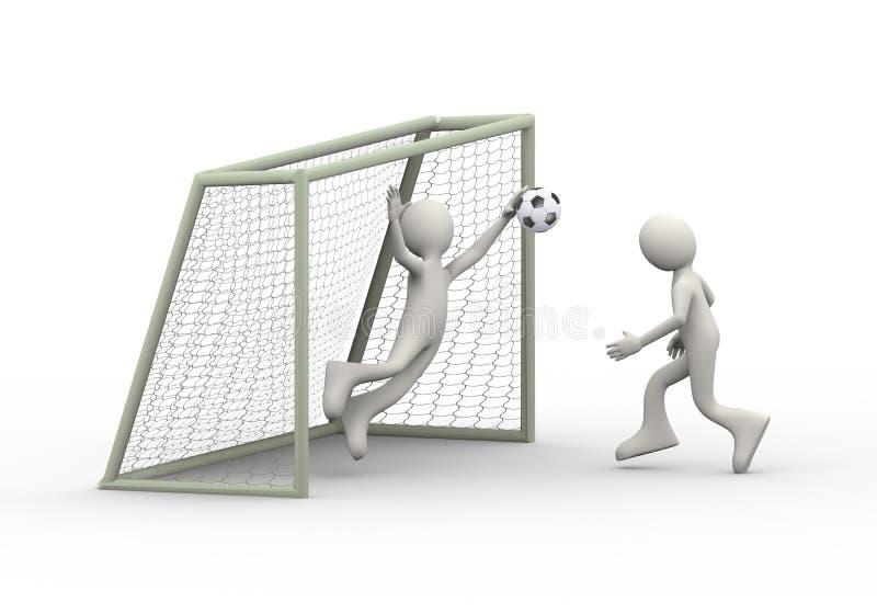 3d man kicking soccer ball into goal stock illustration