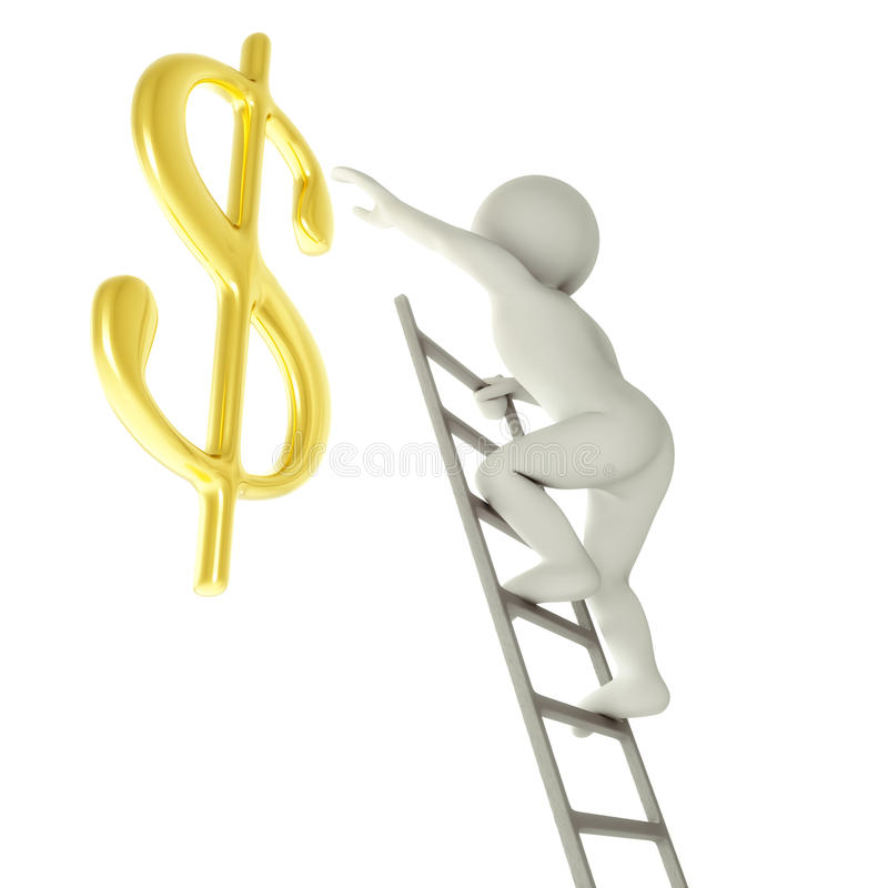 Download 3D Man On A Ladder About To Reach Golden Dollar Sign Stock Illustration - Illustration of career, financial: 37039144