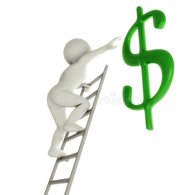 3D Man On A Ladder About To Reach Green Dollar Sign Stock Photography