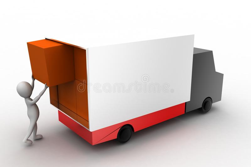 Download 3d Man Lifting Cargo To Truck Stock Illustration - Image: 41045920