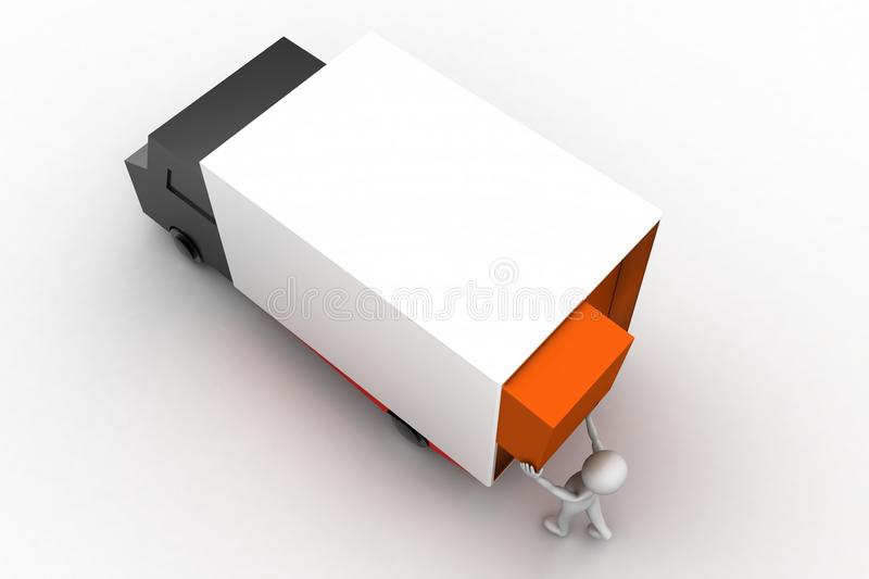 3d man lifting cargo to truck