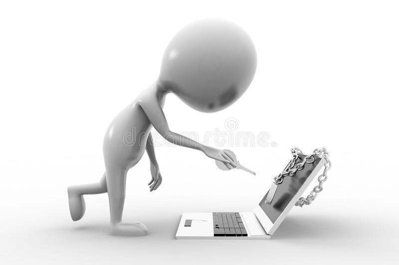 Download 3d Man and Locked Laptop stock illustration. Image of computer - 43529658