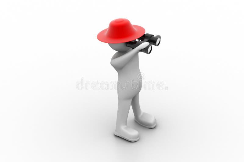 3d man looking into binocular stock illustration