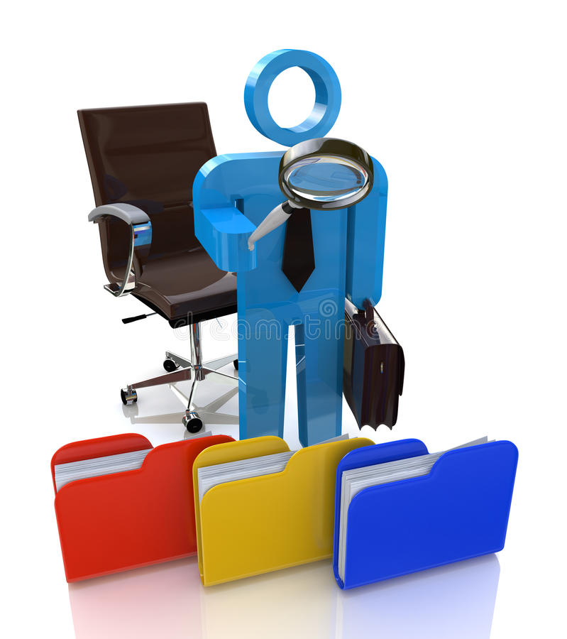 3d man looking for the document to a file folder stock image