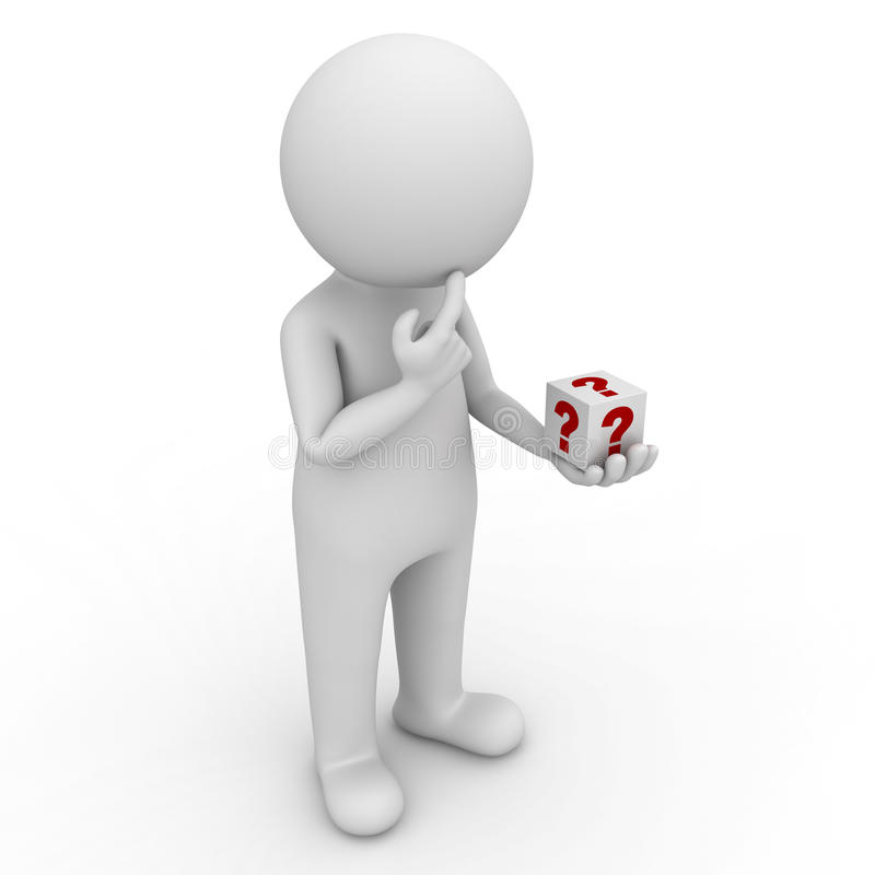 Download 3d Man Looking At Question Box In His Hand And Thinking Over White Stock Illustration - Image: 32812091