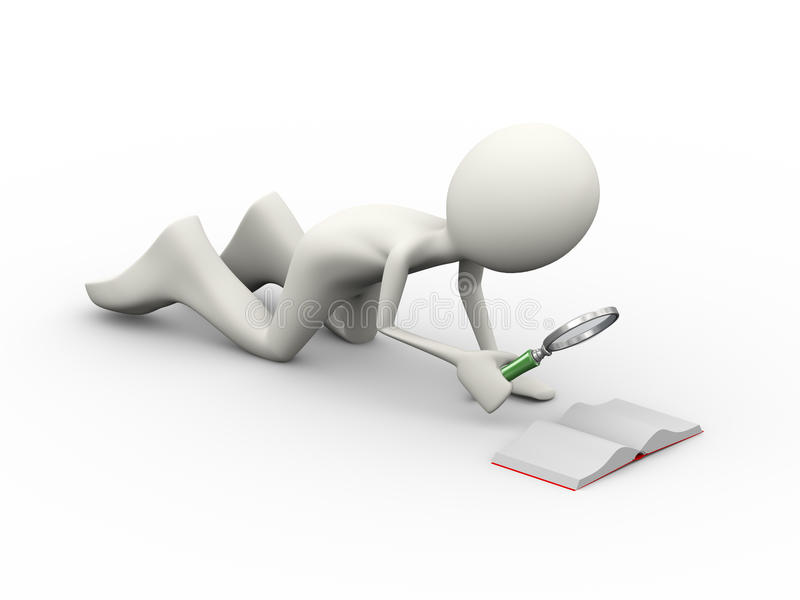 3d man with looking at small book royalty free illustration