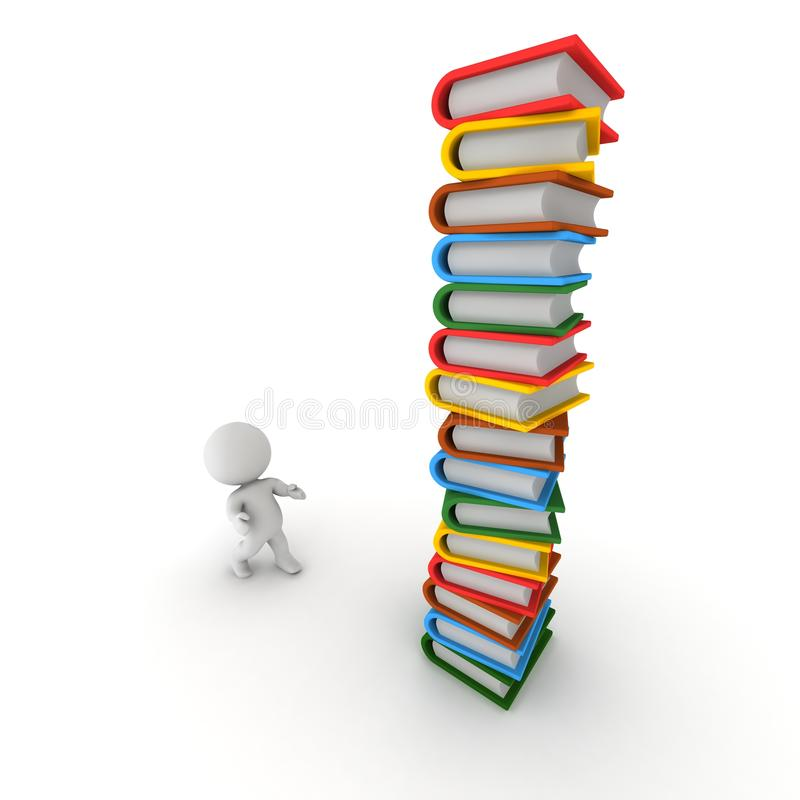 Download 3D Man Looking Up At Tall Stack Of Books Stock Illustration - Image: 37509164
