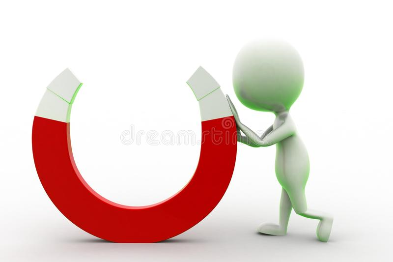 Download 3d man and Magnet stock illustration. Image of attraction - 43529255