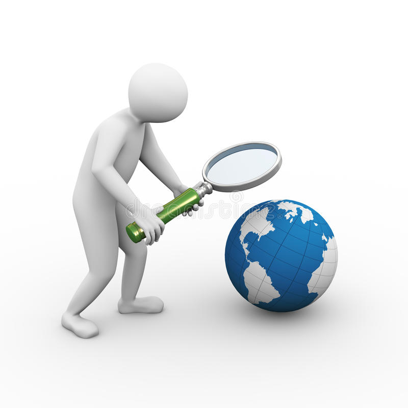 3d man magnifier globe searching stock illustration