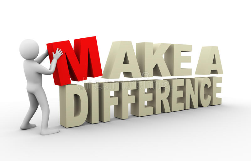 3d man with make a difference quote royalty free illustration