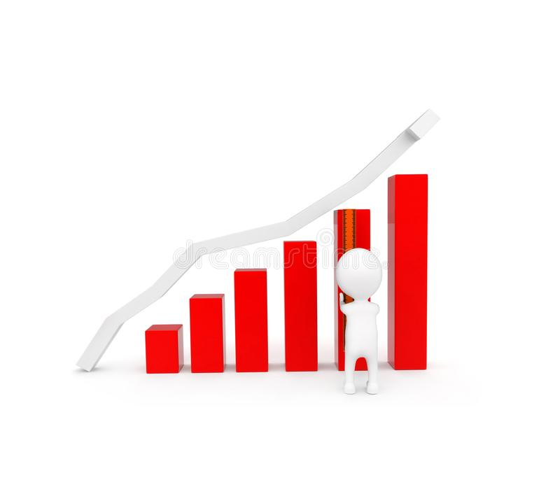 3d man measuring length of bar graph concept. On white background - 3d rendering , front angle view vector illustration