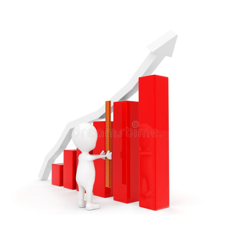3d man measuring length of bar graph concept. On white background - 3d rendering , side angle view stock illustration