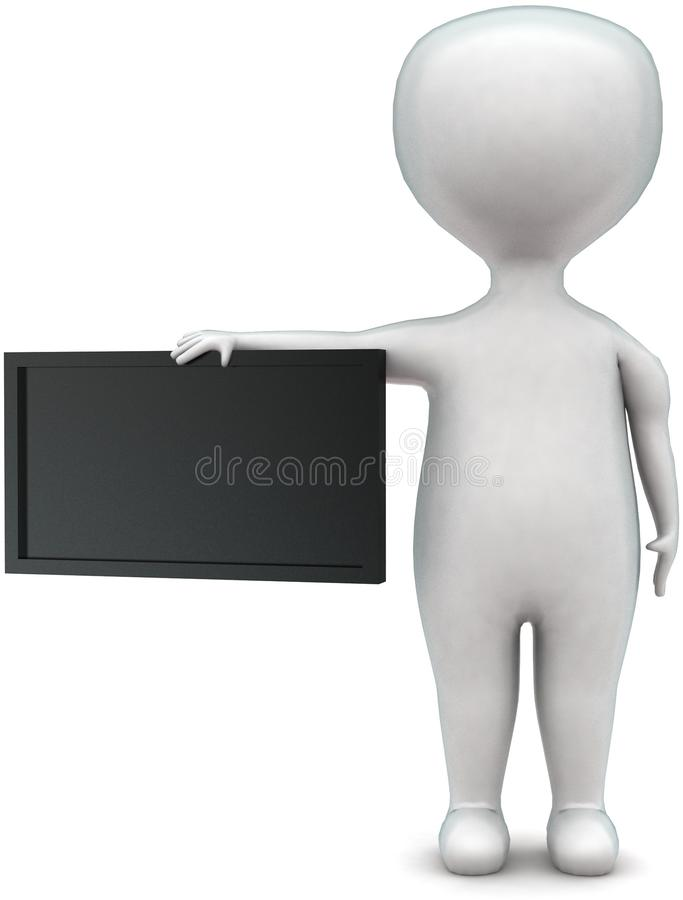 3d man met zwarte-bordconcept stock illustratie