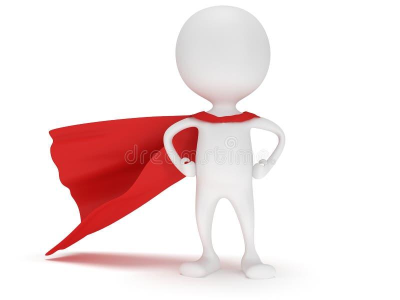 3d man - modig superhero med den röda kappan royaltyfri illustrationer