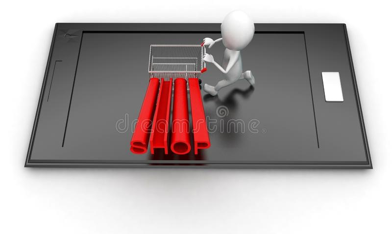 3d man moving trolley with shop text projecting on it  on mobile screen concept royalty free illustration