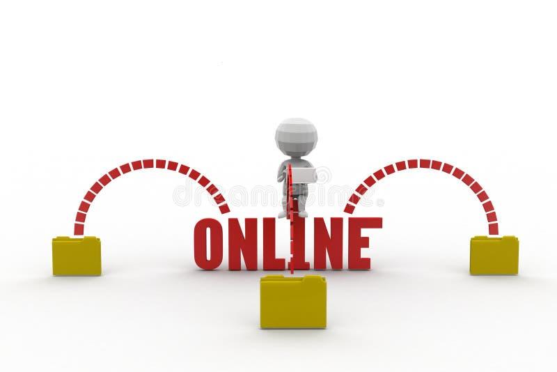 3d Man Online Concept Stock Illustration