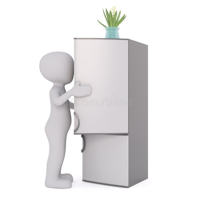 3d man opening a refrigerator stock illustration