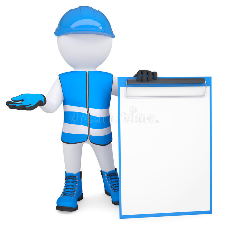 Download 3d Man In Overalls With A Checklist Stock Illustration - Illustration of proposal, helmet: 31497432