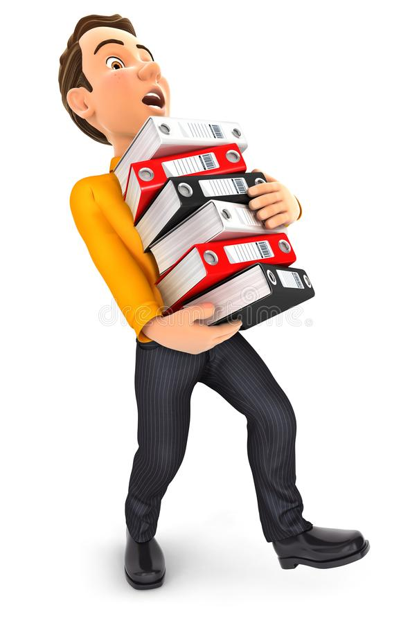 3d man overworked and holdiing ring binders stock illustration