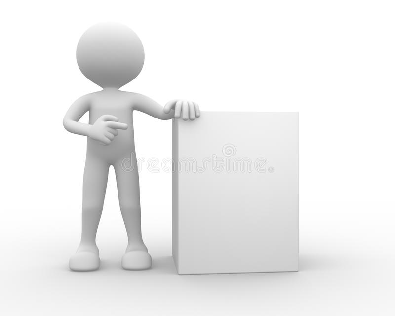 3d Man, Person With Blank Board Stock Images