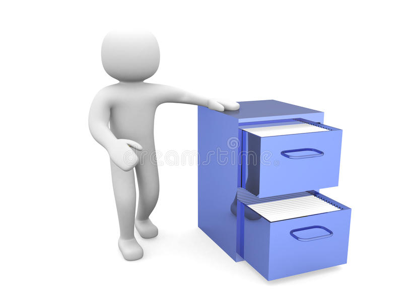 3d man - person and open drawer with folders. 3d man - person and open drawer with folders royalty free illustration