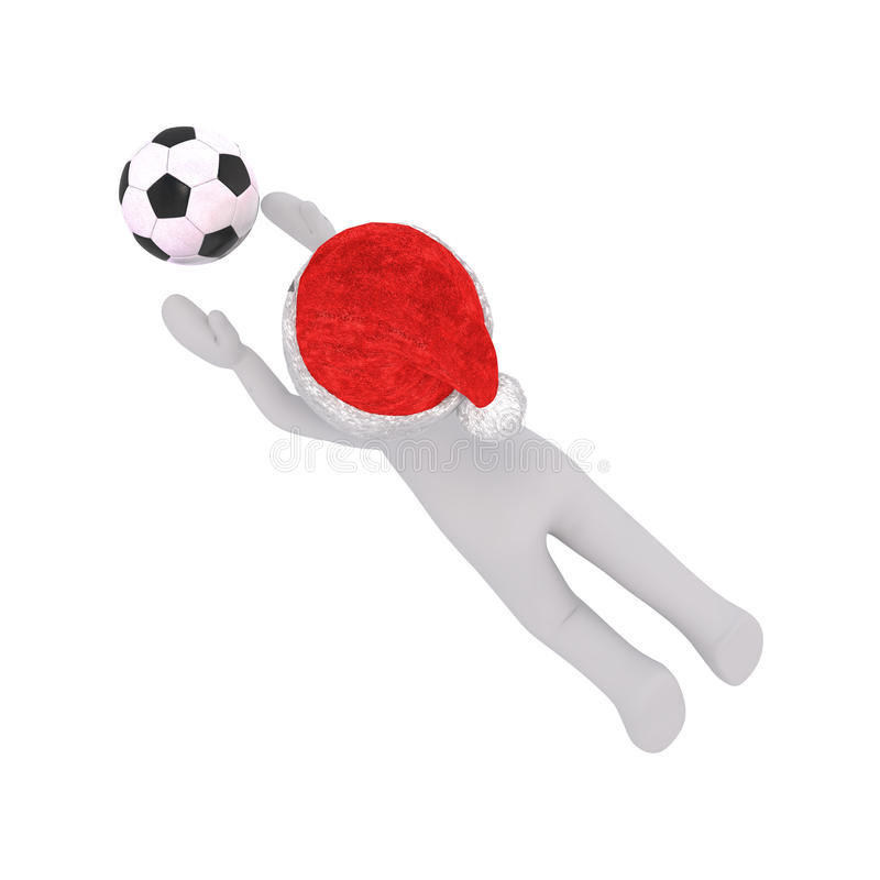 3d man playing soccer diving to catch the ball vector illustration