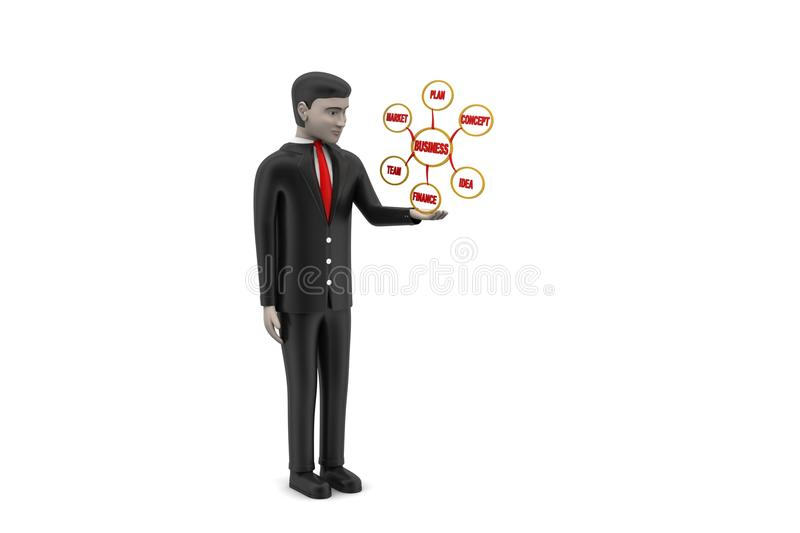 3d man pointing the business chart stock illustration