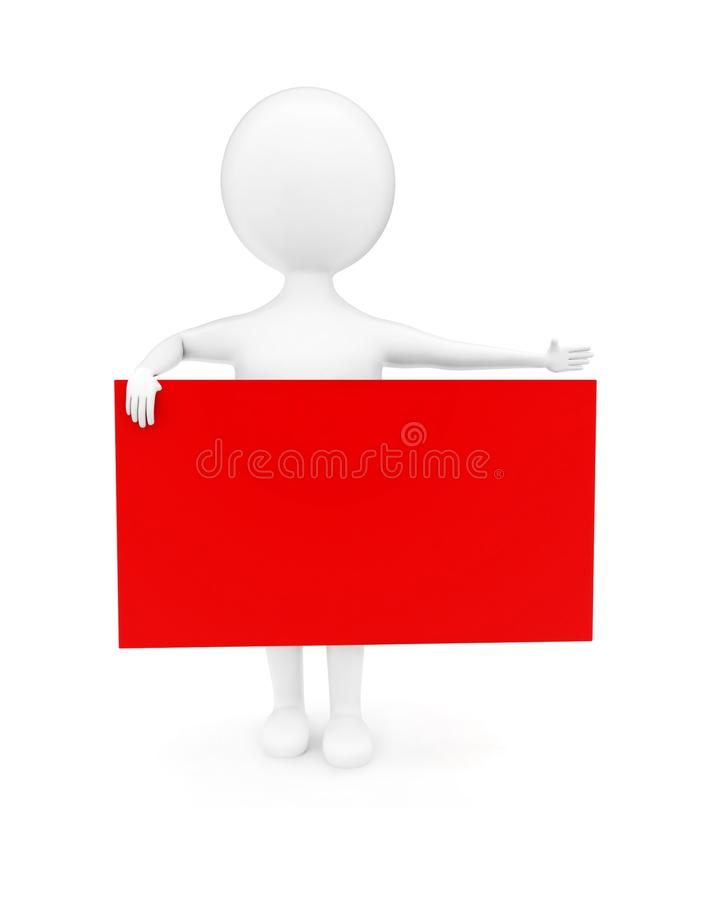 3d man pointing his hands towards a direction and holding a banner concept. In white isolated background , front angle view royalty free illustration