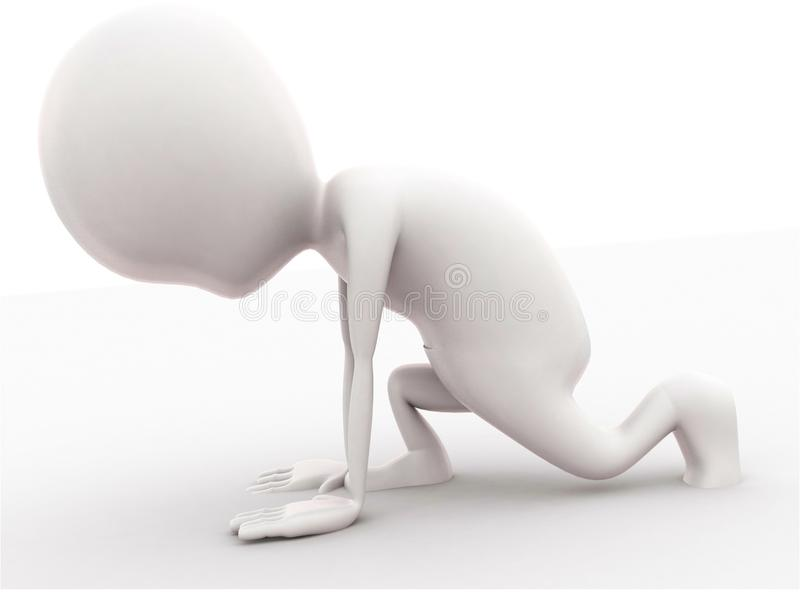 3d man preparing to run concept. In white isolated background , side  angle view stock illustration