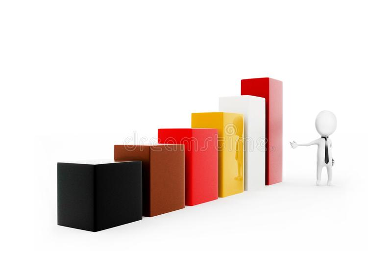 3d man presentating bar graph concept. In white isolated background - 3d rendering , side angle view stock illustration