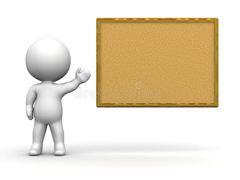 3D Man Presenting Cork Board royalty free illustration