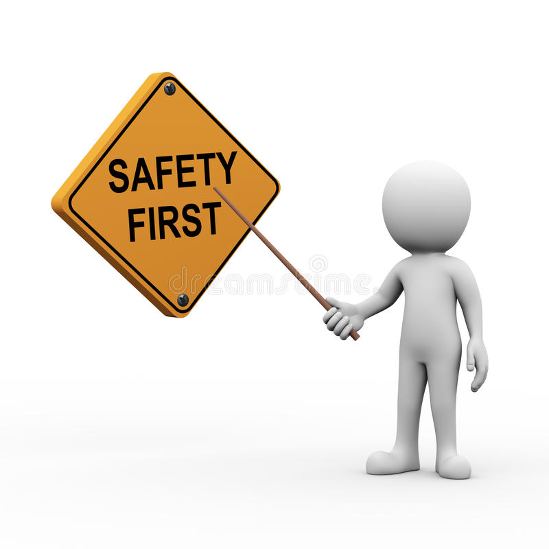 3d man presenting explaining safety first. 3d rendering of explaining man pointing with stick presentation of safety first. white person people illustration stock illustration