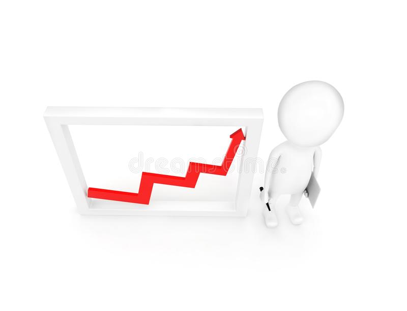 3d man presenting growth graph concept stock illustration