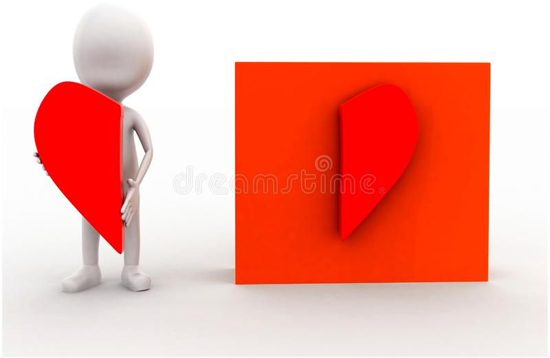 3d man presenting a half heart shap in hands and other half attached on box concept. In white isolated background , front angle view vector illustration