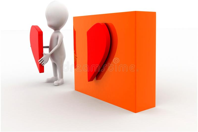 3d man presenting a half heart shap in hands and other half attached on box concept. In white isolated background , side angle view royalty free illustration