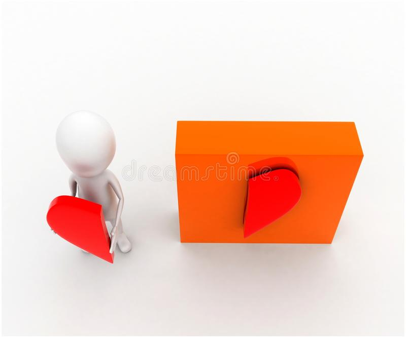 3d man presenting a half heart shap in hands and other half attached on box concept. In white isolated background , top angle view vector illustration