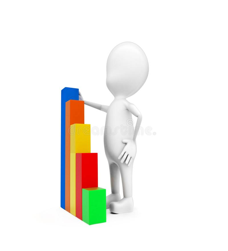 3d man presenting higher statics bar graph concept. In white isolated background - 3d rendering , side angle view vector illustration